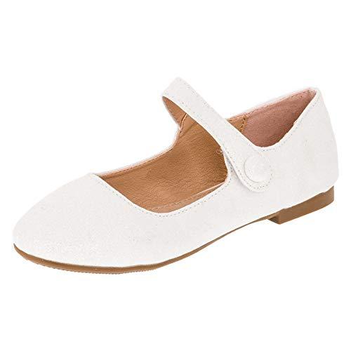 Festliche Mädchen Glitzer Ballerinas mit Leder Innensohle M373ws Weiß 27