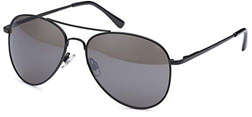 Balinco Pilotenbrille Sonnenbrille 70er Jahre Herren & Damen Sunglasses Fliegerbrille verspiegelt (Black/Matt)