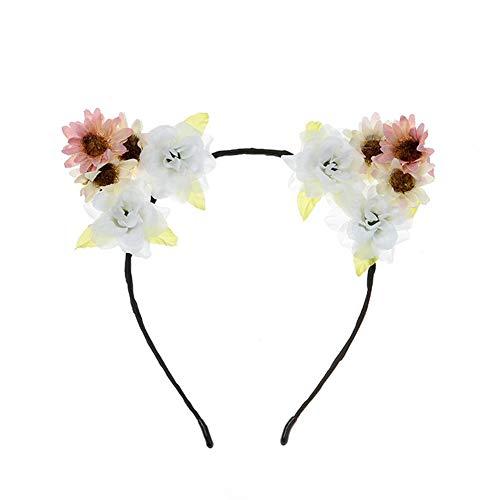 Sonnenblume Kostüm Halloween - Z&J Katze Ohren Stirnband Rose Blume Sonnenblume Haarband Haarschmuck für Frauen Mädchen Kinder Party Braut Kostüm Halloween,A