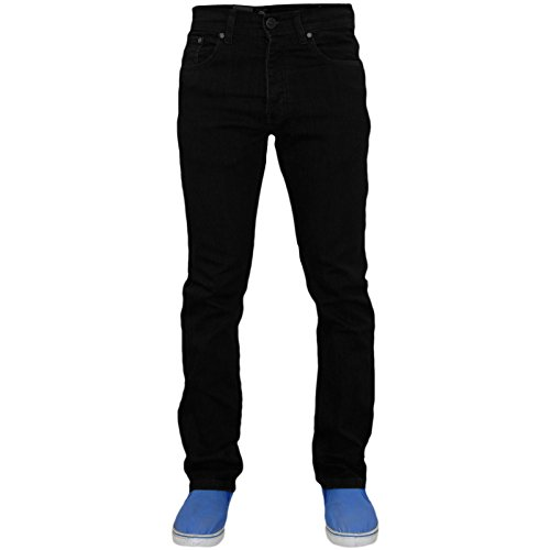 Hommes Enzo EZ359 Regular Fit Straight Leg Jeans Pantalons Pantalons denim extensible Black