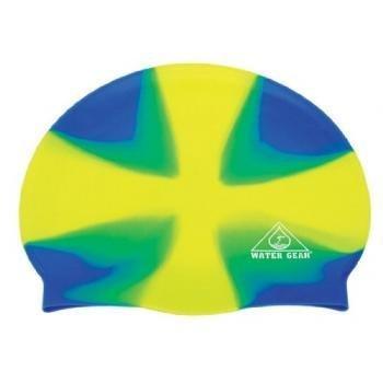 water-gear-jazz-silicone-swim-cap-criss-cross-lime-blue-by-water-gear
