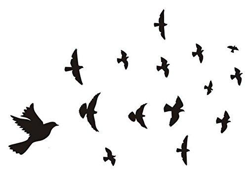 Qifumaer Sticker Mural Oiseau Voler DIY Famille muraux Autocollant Couple Papier Autocollant Décoration Chambre Salon Cuisine Café Size 30 * 57cm Qifumaer