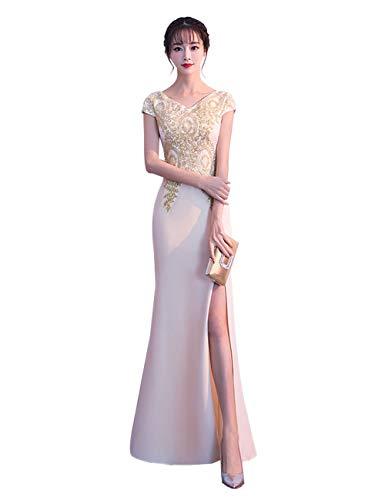 wangyu Damen Meerjungfrau Lange Abendkleider Party Kleid Gold Applikationen Beige DE 34
