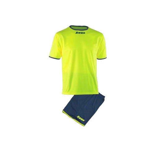 Kit zeus sticker giallo fluo-blu completino completo calcio calcetto muta torneo scuola sport (s)