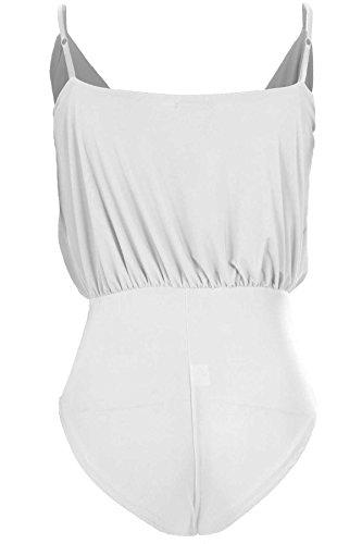 SAPHIR Damen Gewickelt V Ausschnitt Stretch Jersey Hohe Taille Damen Geraffte Turnzug Bodysuit Creme