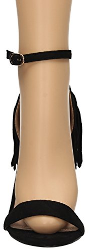 Nica da donna, con tacco alto, con frange in camoscio da donna, con cinturino alla caviglia, con tacco alto a spillo e plateau, spuntate, con polsino, SWANKYSWANS Nero (nero)