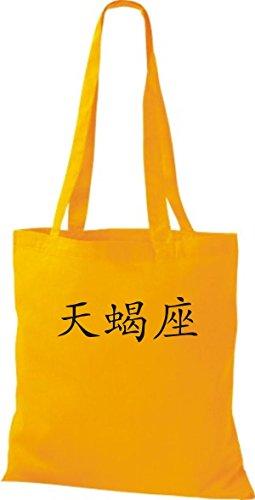 ShirtInStyle Stoffbeutel Chinesische Schriftzeichen Skorpion Baumwolltasche Beutel, diverse Farbe yellow