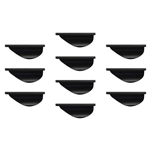 Vintage Möbelgriff Küche Griffleiste schwarz matt Design-Griff Metall - JOLA   Schubladen-Griff gebogen für Schrank-Türen & Holz-Möbel   10 Stück - Moderner Ziehgriff BA 32 mm ()