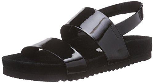 P1 Gladiator, Damen Knöchelriemchen Sandalen, Schwarz (black), 40 EU (6.5 Damen UK) (Sandalen Schwarz Gladiator Leder)