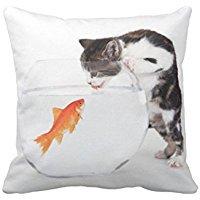 Stefan Paula Custom Pillowcase Kitten Vs Fish Pillowcase Pillow Case Cover Size 18X18 Inch (Two Sides)
