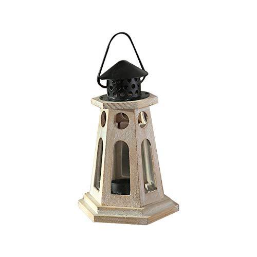 TentHome Retro Holz Laterne Landhaus Garten Windlicht für draußen Gartenlaterne Holzlaterne Kerzenhalter Glaslaterne Tischdeko (Leuchtturm) -