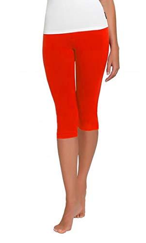 FUNGO Leggings Pour Femmes 3/4 Longueur Yoga Fitness Pantalon Leggins De Sport (42, Rouge)