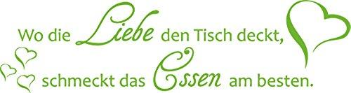 GRAZDesign Wandsticker Küche Geschenk Mama - Wanddeko Küche Esszimmer Wo die Liebe den Tisch deckt - Wandtattoo Küche Herz / 113x30cm / 063 lindgrün -