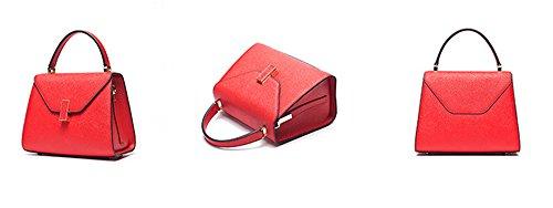 Xinmaoyuan Borse donna borsette in cuoio portatile borsa Messenger spalla Wild sezione trasversale piccola piazza Borsa,Nero Rosso