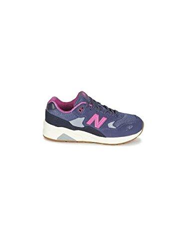 NEW BALANCE - Chaussure de sport violette et fuchsia à lacets, en suède et tissu, avec logo latéral et à l'arrière, coutures visibles et semelle en caoutchouc, fille, filles, femme, femmes Aubergine