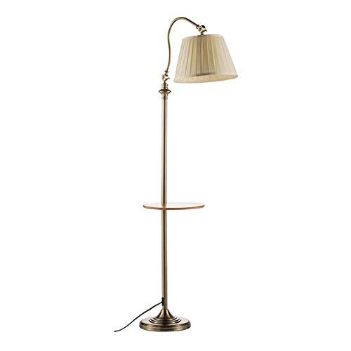 TangMengYun Einstellbare Metall Stehleuchte Holz Regal Couchtisch Angeln Lampe Stoff Lampenschirm Vertikale Tischlampe Amerikanisches Sofa (Color : Metallic-160cm) -