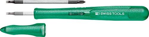 PB Swiss Tools SCHLITZ/PHILLIPS Kreuzschraubendreher mit Umsteckklinge PB 168.00 (Gr. 0/PH 00), 100% Swiss Made, Unbegrenzte Garantie, Grün