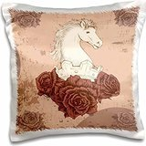 Designs Random Animals - Pretty White Horse Head Decorated With Eteched Vintage Roses Equestrian Animal Illustration - 16x16 inch Pillow Case