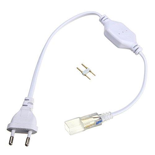 BZAHW Adattatore per connettore a spina a nastro flessibile a 2 pin 6mm LED AC220-240V BZAHW (Size : Plug type: EU)