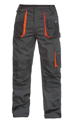 ab13e079cf09 DINOZAVR Pantaloni da Lavoro multitasca Extra Resistenti - Uomo - Grigio  Scuro Nero Arancione