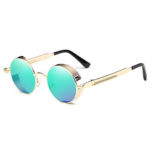 LANOMI Retro Sonnenbrille Rund Vintage Steampunk Metallrahmen Damen Herren Verspiegelt Brillen UV400 (Golden Rahmen mit grünen Linsen)