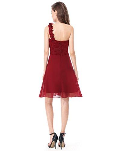 Ever Pretty Robe de Demoiselle d'honneur midi avec une epaulet en forme de fleur 03535 Rouge