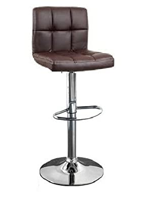 Cuban Brown Faux Leather Breakfast Kitchen Bar Stools