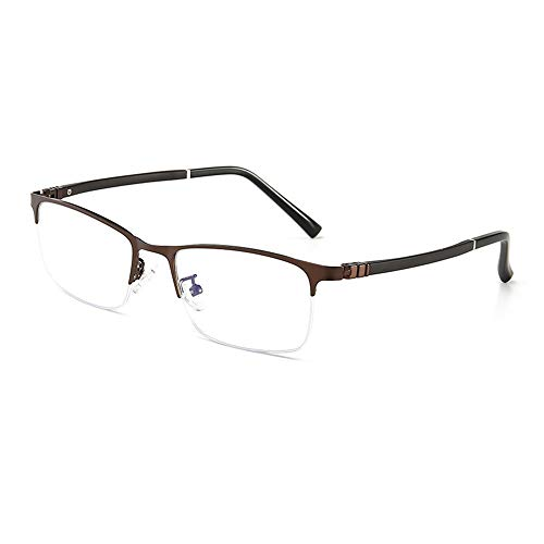 WULE-RYP Polarisierte Sonnenbrille mit UV-Schutz Business Simple Half-Frame-Brille Metall Anti-Blau-Brille für Männer. Superleichtes Rahmen-Fischen, das Golf fährt (Farbe : Braun)