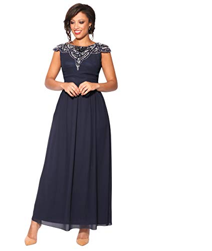 empire abendkleid KRISP Damen Abendkleid Schmuck Dekolleté (Marineblau, Gr.40) (2966-NVY-12)