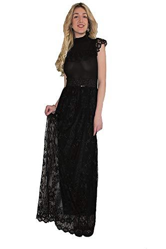 Artigli abito donna nero elegante lungo con ricami da sera (44, nero)