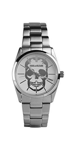 Zadig & Voltaire Unisex Watch–Analogue Quartz–Silver Dial–Steel Bracelet zv007t/FM–Silver
