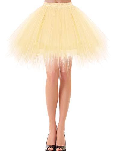 Kostüm Tanz Hirsch - bbonlinedress Kurz Retro Petticoat Rock Ballett Blase 50er Tutu Unterrock Champagne XL