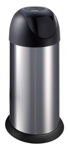 Meliconi Pattumiera con coperchio basculante 40 lt, Acciaio Inox con coperchio in plastica nera. Made in Italy