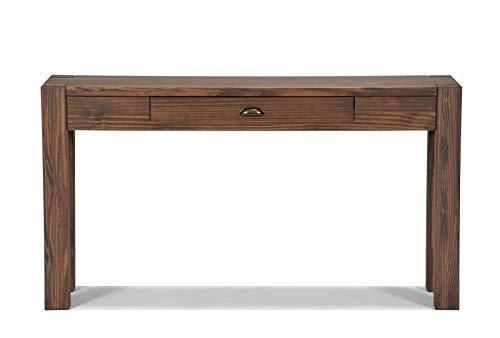 Naturholzmöbel Seidel Sideboard Massivholz Konsole Anrichte Schreibtisch Wandtisch,Rio Bonito, 140x38cm Pinie Massiv Cognac Braun