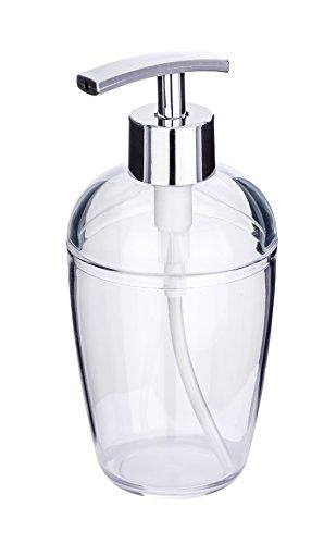 WENKO 22193100 Seifenspender Cocktail Transparent, Flüssigseifen-Spender, Spülmittel-Spender Fassungsvermögen: 0,43 l, Polystyrol, 8 x 17,5 x 8 cm, Transparent