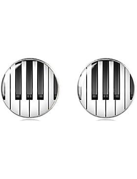 Tizi Jewellery Handgemacht Klavier 925 Sterling Silber Ohrringe Ohrstecker 12 mm für Damen und Mädchen Geschenk...