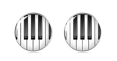 Tizi Jewellery Handgemacht Klavier 925 Sterling Silber Ohrringe Ohrstecker 12 mm für Damen und Mädchen Geschenk perfekte oder Party