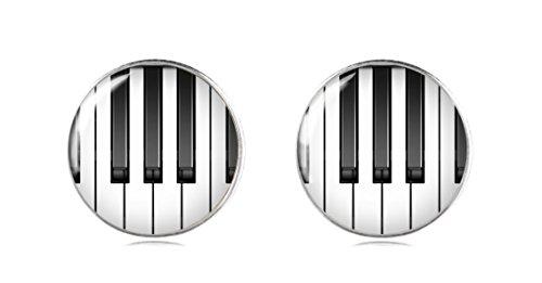emacht Klavier 925 Sterling Silber Ohrringe Ohrstecker 12 mm für Damen und Mädchen Geschenk perfekte oder Party (Gold Tuxedo-jacke)