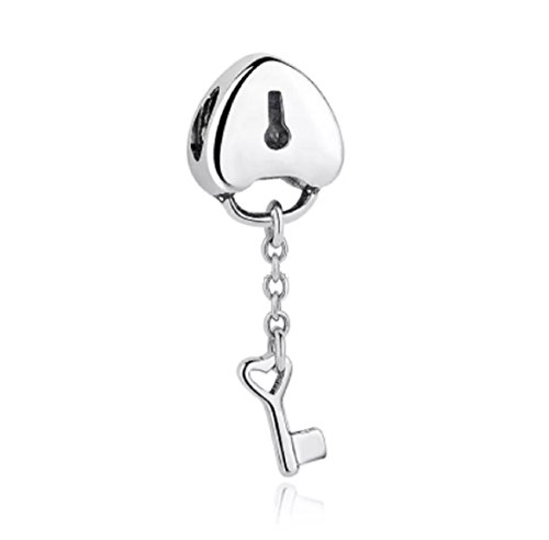 Featherwish 925argento Sterling medaglione di amore chiave e serratura charm per braccialetti Pando