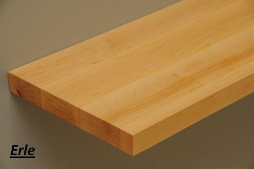 Holz-Projekt-Summer Wandbord Wandboard Livingboard mit verdeckten Trägern massiv Holz - verschiedene Holzarten wählbar - Tiefe:13cm Dicke:25mm (Erle, 30cm) (Bücherregal Erle)