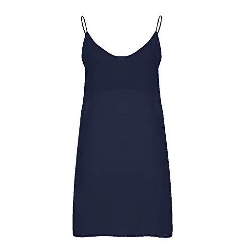 Go First Einfarbiges Kleid des Damensommers Bequemer Natürlicher Hosenträgerrock Einfaches Temperament Schönes Kleid (Color : Marine, Size : US:6(M)) Casual Home Stretch Ribbed