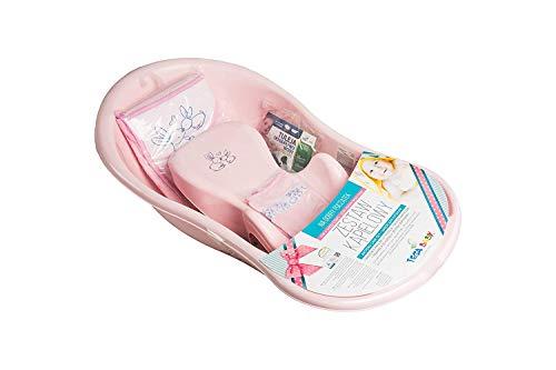Tega Baby ® SET 5-teilig Badewanne Badesitz für Baby, ab 0 Monate mit eingebautem Thermometer - Anti-rutsch, GESCHENK für Neugeborene (Süße Kaninchen ROSA)