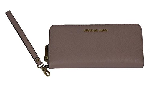 Michael Kors Jet Set Travel Continental Zip Around Leather Wallet Wristlet (Blossom) (Zip Wallet Travel Around)
