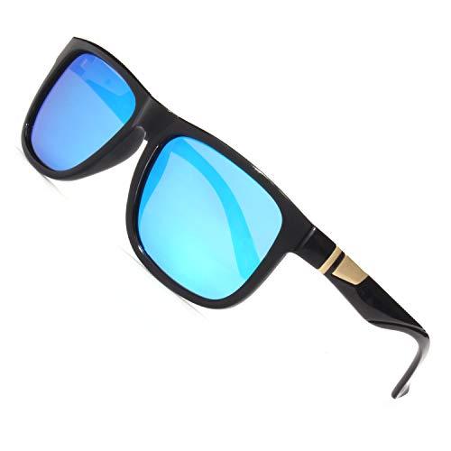 CGID Retro 80er Sport Designer Klassische Sonnenbrille für Männer und Frauen Polarisierte Sonne Gläser Sonnenbrille Brille mit Metalldekoration 100% UV400 Schutz Blaue Verspiegelte Linse MJ44