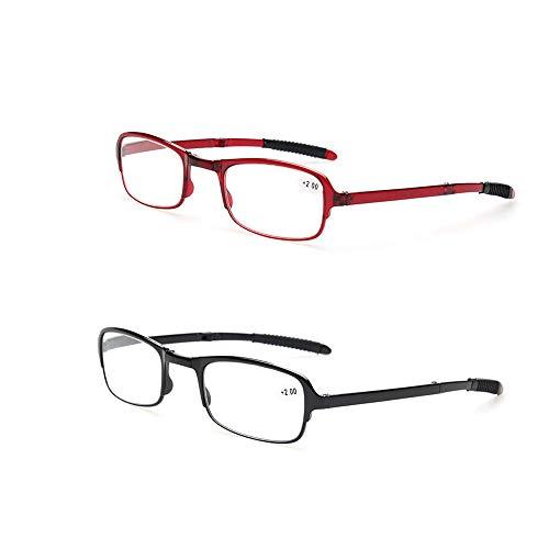 Faltbare Lesebrille 2er Pack Faltbare Presbyopie Kompakte Brille Brillen Brillen für ältere Menschen Anti-Müdigkeit Qualität Spring-Scharniere,1.5