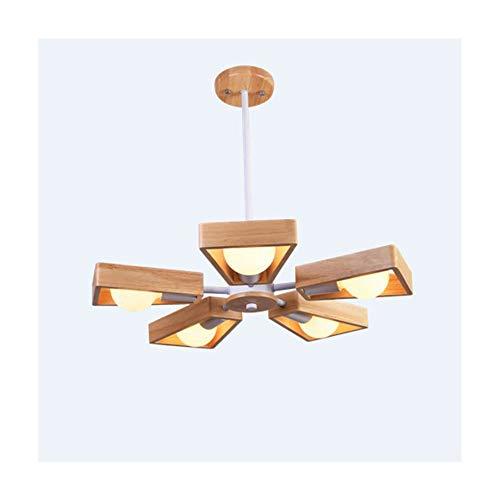 ZSSM Holz deckenventilator Lampe massivholz Fan Klinge drehbar 5 lichtquelle led pendelleuchte (ohne Lampe),White -