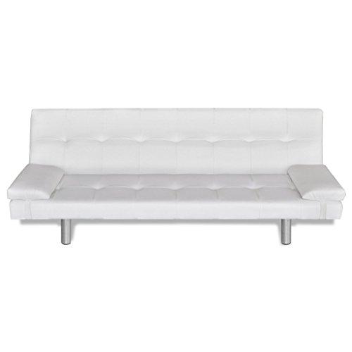 Festnight adjustable bed sofa with two pillows divano letto regolabile in ecopelle/similpelle/pelle artificiale con due cuscini da soggiorno 168 x 77 x 64 cm bianco/nero