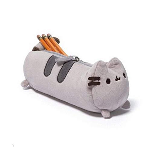 on-Bleistift-Kasten-Plüsch-Katze Nette Design Kreative Bleistifthalter Lustige ändern Veranstalter Plumer Briefpapier Studenten für Kinder (Gray) ()