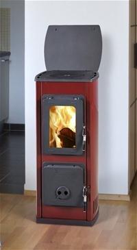 Kaminofen / Werkstattofen Thorma Milano II Stahl rot emailliert 5kW