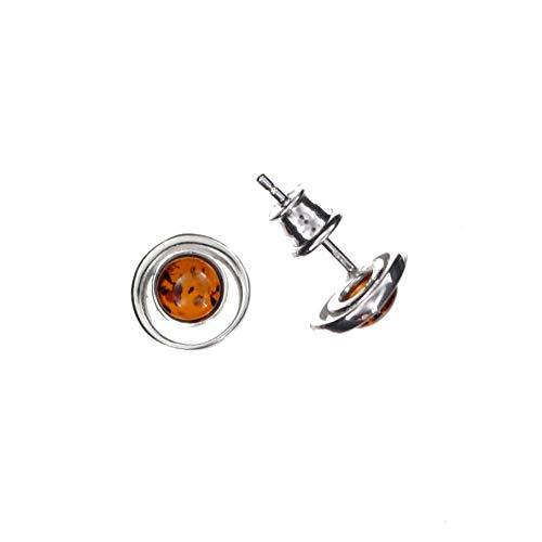 Ohrringe Natur Bernstein von Artisana-Schmuck, kleine runde Ohrstecker Fassung 925/000 Sterling Silber rhodiniert